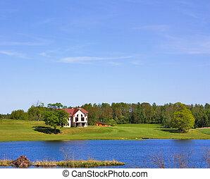 cottage, lago