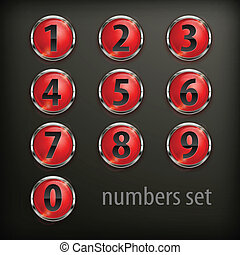 Red round buttons with number on black