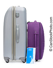 Ticket and two suitcases for traveling