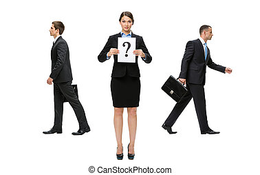 Businesswoman facing a difficult decision