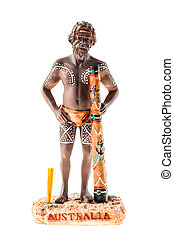 Aborigine figurine - a small aborigine figurine isolated...