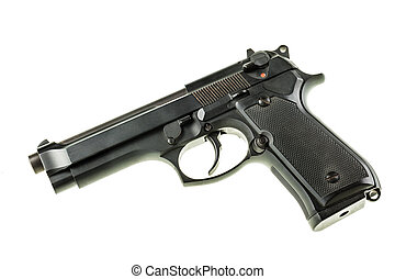 Handgun - a black 9mm pistol isolated over a white...
