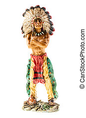Indian chief - a small indian chief figurine isolated over a...