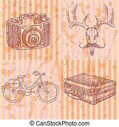Sketch deer with mustache, suitecase, bicycle and photo...