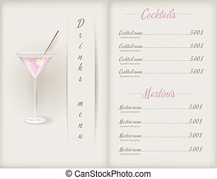 Drink menu template booklet with glass of pink martini and...