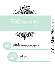Template for design with crystals - Black, white and mint...