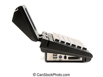 POS - POS. Modern cash register, side view. Isolate on...