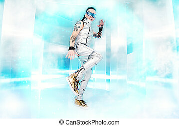 dance man - Portrait of the eccentric futuristic man in...