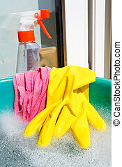 glove, wet rag, spray bottle, foamy water - home window...