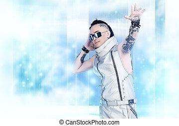 dj styleman - Portrait of the eccentric futuristic man in...