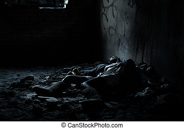 Dead woman lying in the basement - Dead woman lying on the...