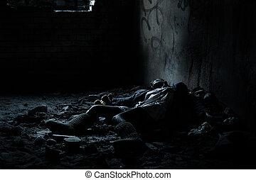 Dead woman lying in the basement - Dead woman lying on the...