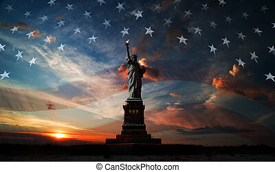 Independence day. Liberty enlightening the world - Statue of...