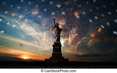 Independence day Liberty enlightening the world - Statue of...