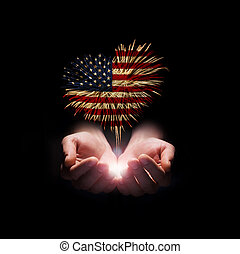 Independence day. My heart with love to usa. - fireworks in...