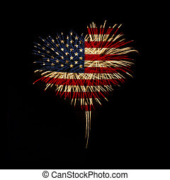 Independence day My heart with love to usa - fireworks in a...