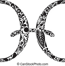 Pisces zodiac sign made of black floral elements