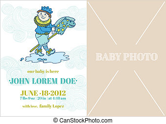 Baby Boy Arrival Card - with place for your text and photo -  in vector