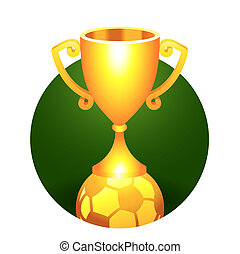 Soccer, football ball trophy gold cup