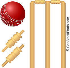 Cricket ball and stump illustration - Cricket ball and stump...