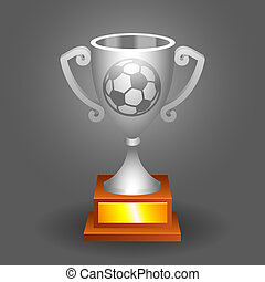 Soccer ball trophy silver cup bacground