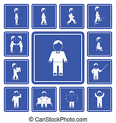 Business man activities icons set - Businessman day...