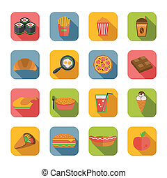 Fast Food Icons Flat