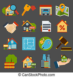 Real Estate Set - Real estate icons set of house key garage...