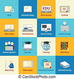 Online education icons set of ebook multimedia reading...
