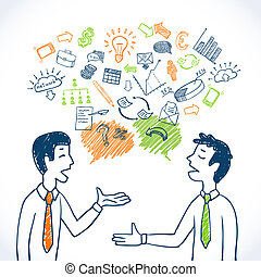 Doodle business conversation sketch concept with businessmen...