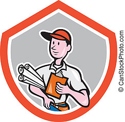 Builder Carpenter With Plans Shield Cartoon - Illustration...