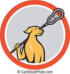Dog Lacrosse Player Crosse Stick Cartoon Circle -...