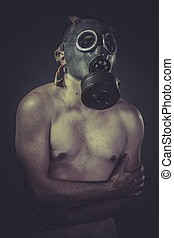 Nude man with gas mask, pollution concept