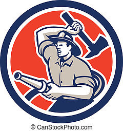 Fireman Firefighter Holding Hose Axe Circle Retro -...