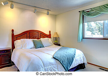 Bedroom with antique bed - Cozy bedroom with antique wooden...