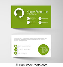 Modern green business card template with flat user interface...