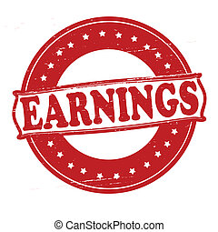 Earnings - Stamp with word earnings inside, vector...