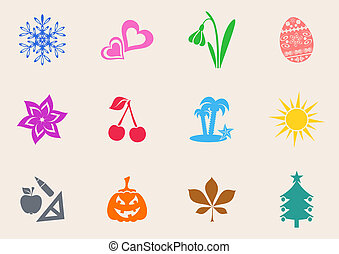 Calendar icons - Colorful calendar month symbols collection...
