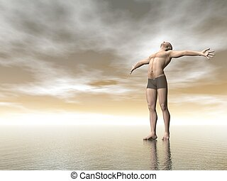 Happiness - 3D render - Man with open arms and head looking...
