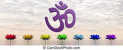 Aum and chakras - 3D render - Violet aum upon lily flowers...