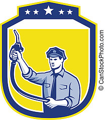 Gas Jockey Gasoline Attendant Shield - Illustration of fuel...
