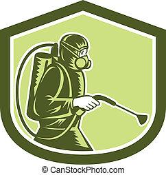 Pest Control Exterminator Spraying Shield Retro