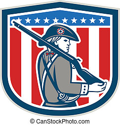 American Patriot Minuteman Holding Musket Rifle Shield Retro...