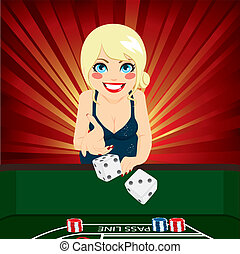 Woman Playing Craps - Attractive young blonde woman on...