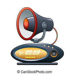 megaphone alarm clock - A vector illustration of alarm clock...
