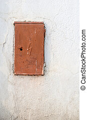 Switchboard - Rusty brown iron doors of switchboard on white...
