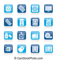Computer part icons - vector icon set