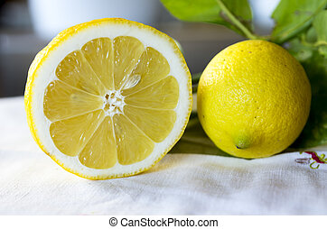 Lemons - closeup of two fresh lemons