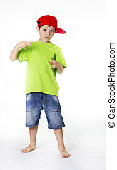 Real people child wearing a red cap