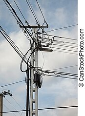 electric lines - Many cables of electric lines